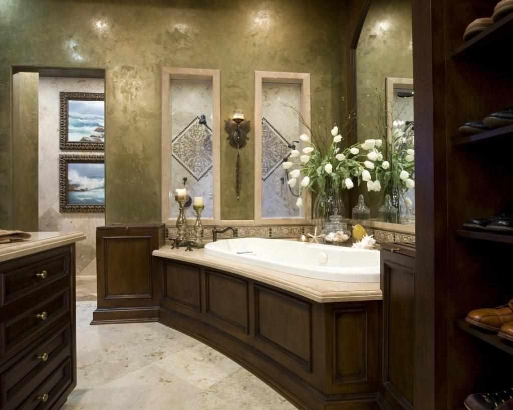 идея использования необычной декоративной штукатурки в интерьере ванной комнаты