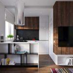 идея яркого интерьера кухни гостиной 16 кв.м картинка