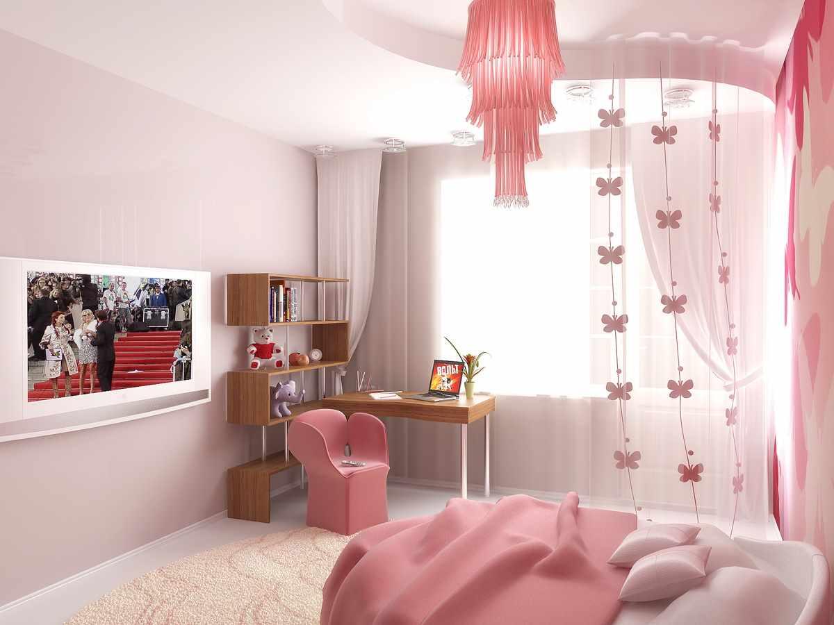 идея светлого интерьера спальни для девочки