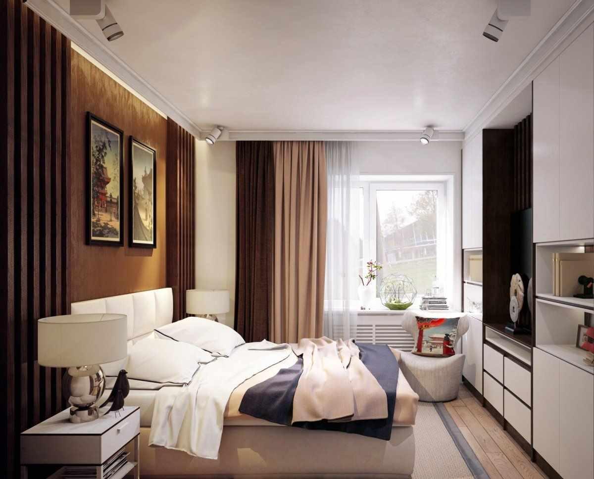 пример необычного стиля спальной комнаты 15 кв.м