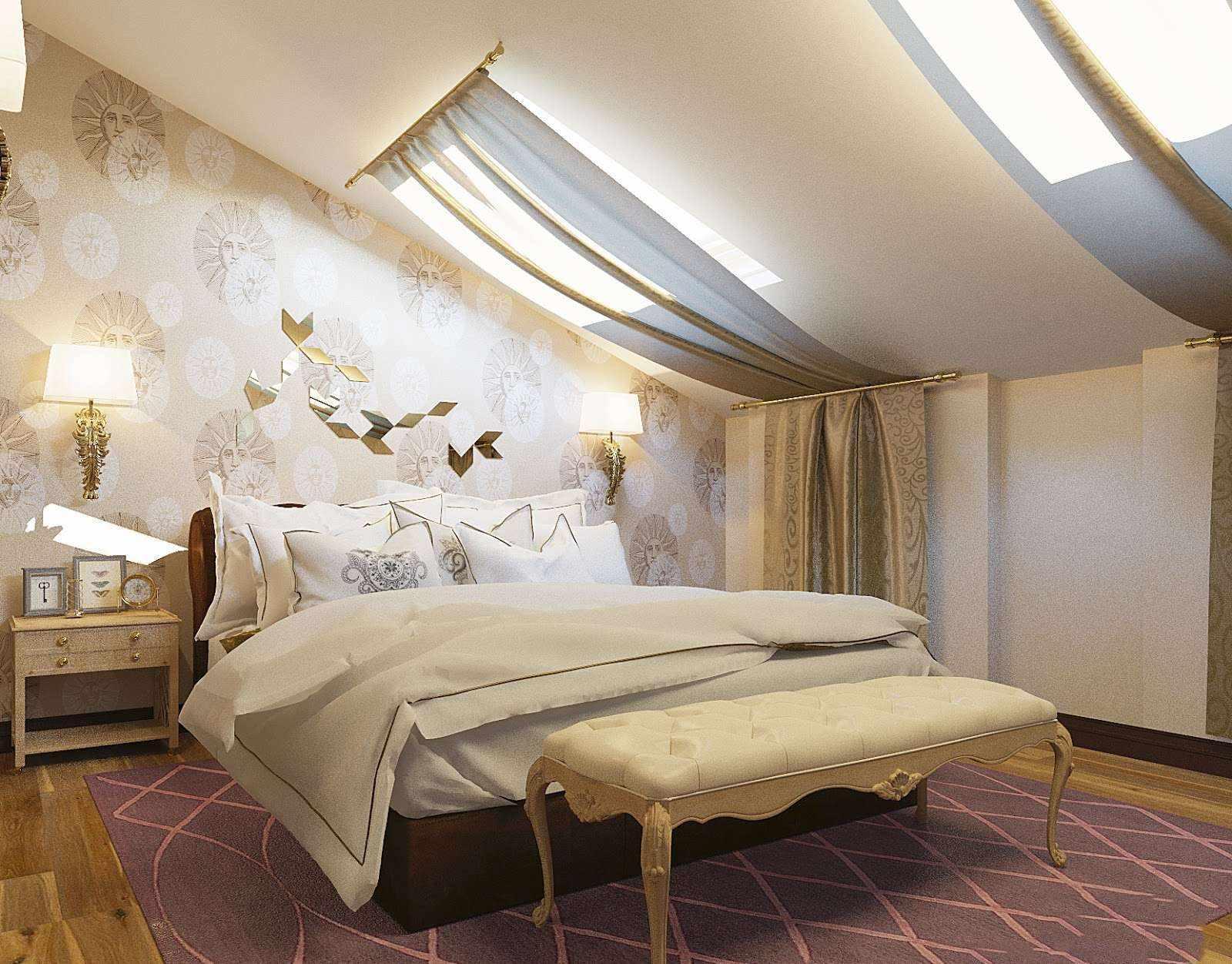 идея светлого стиля спальной комнаты в мансарде