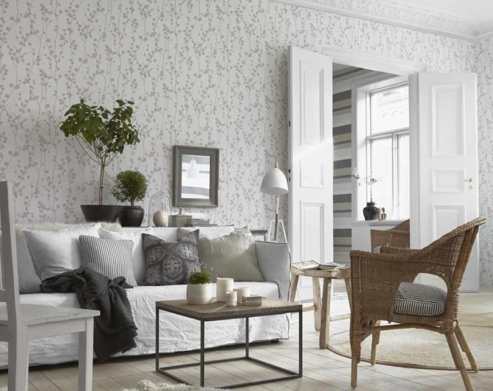 пример светлого стиля обоев для гостиной