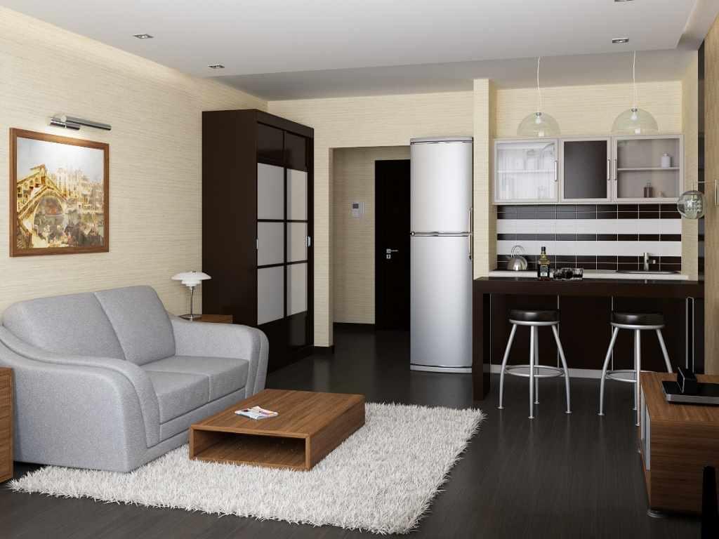 пример красивого интерьера кухни гостиной 16 кв.м
