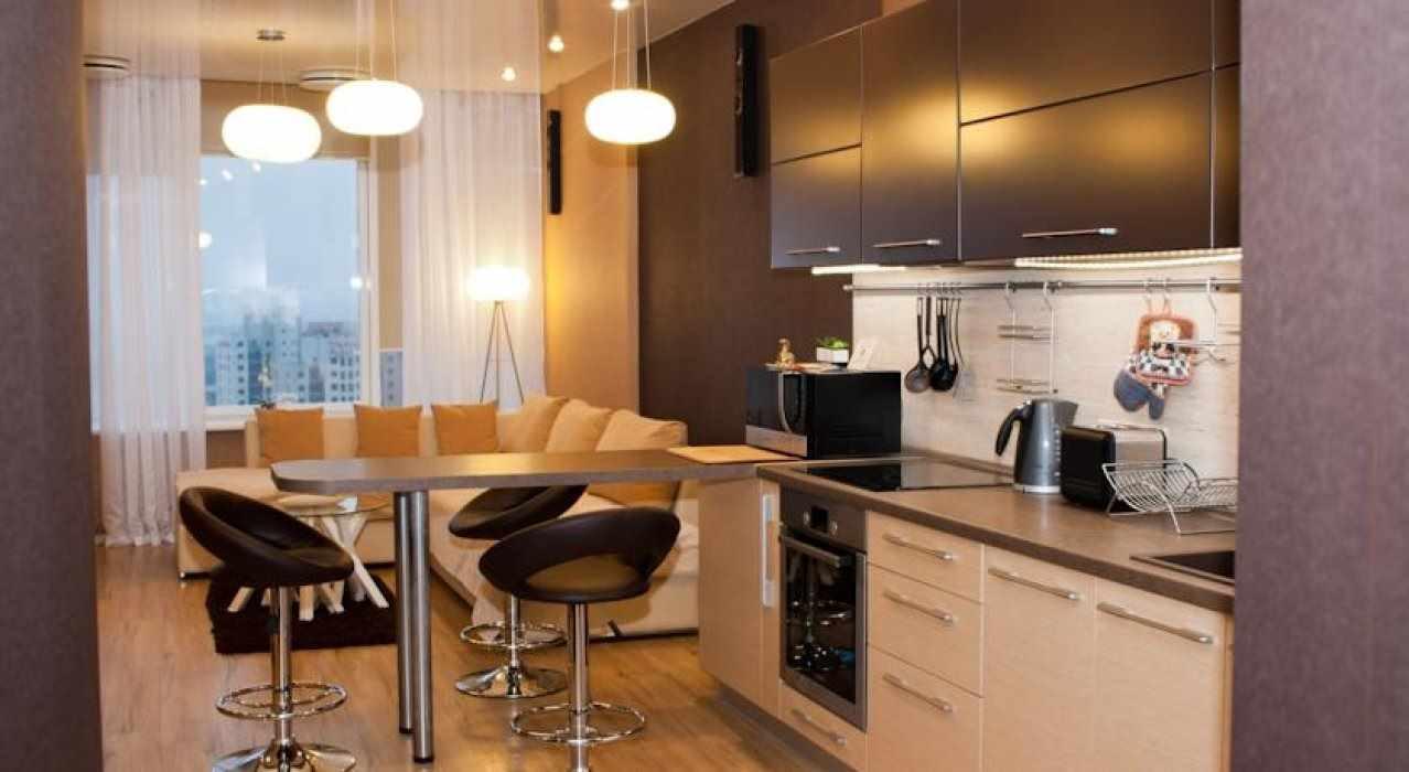 вариант яркого декора кухни гостиной 16 кв.м