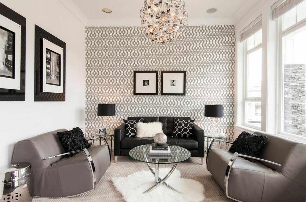 вариант красивого интерьера обоев для гостиной