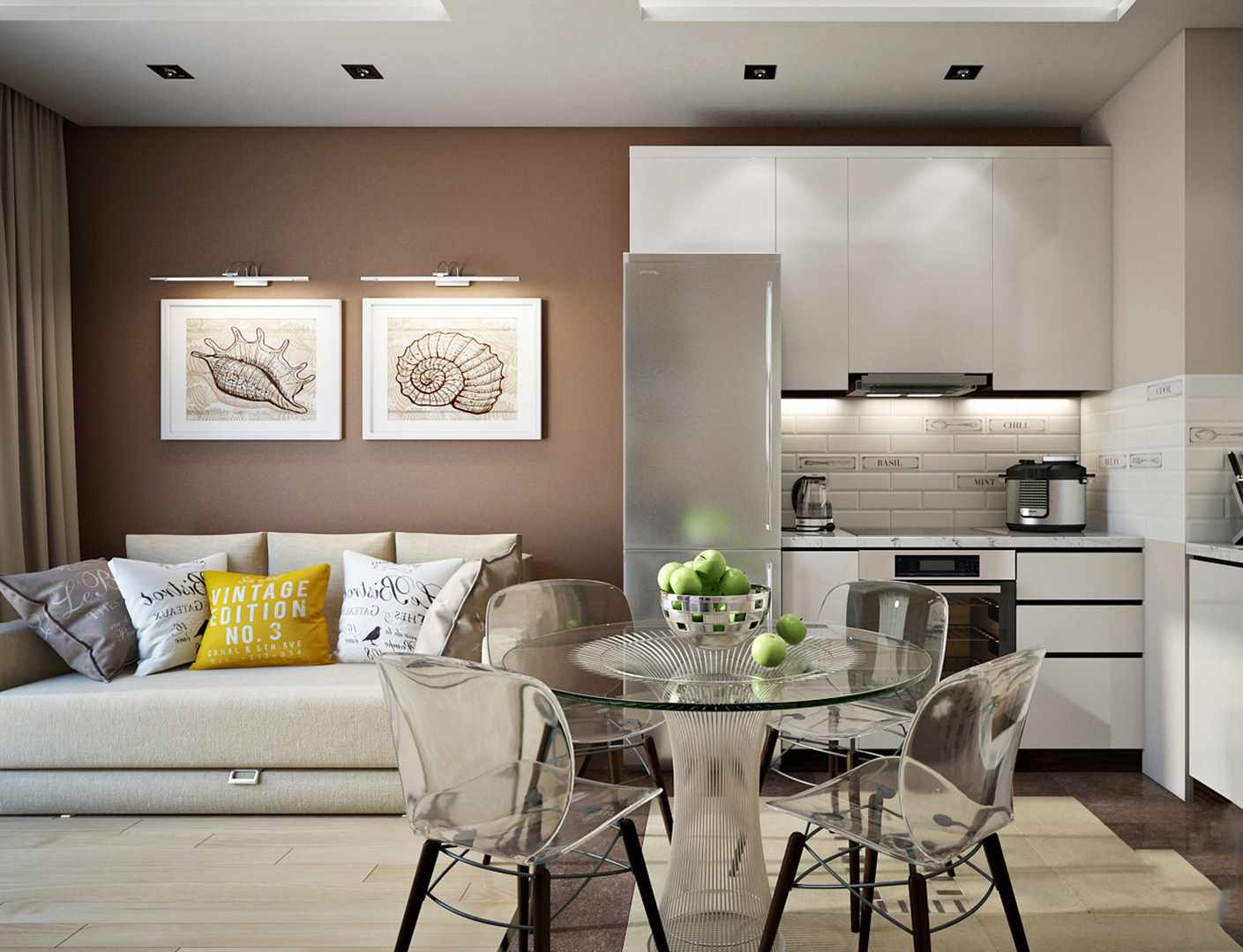 пример светлого интерьера кухни гостиной 16 кв.м