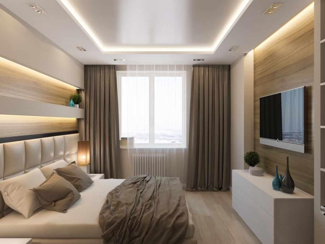 вариант светлого дизайна спальной комнаты 15 кв.м