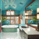 пример использования необычной декоративной штукатурки в декоре ванной комнаты картинка