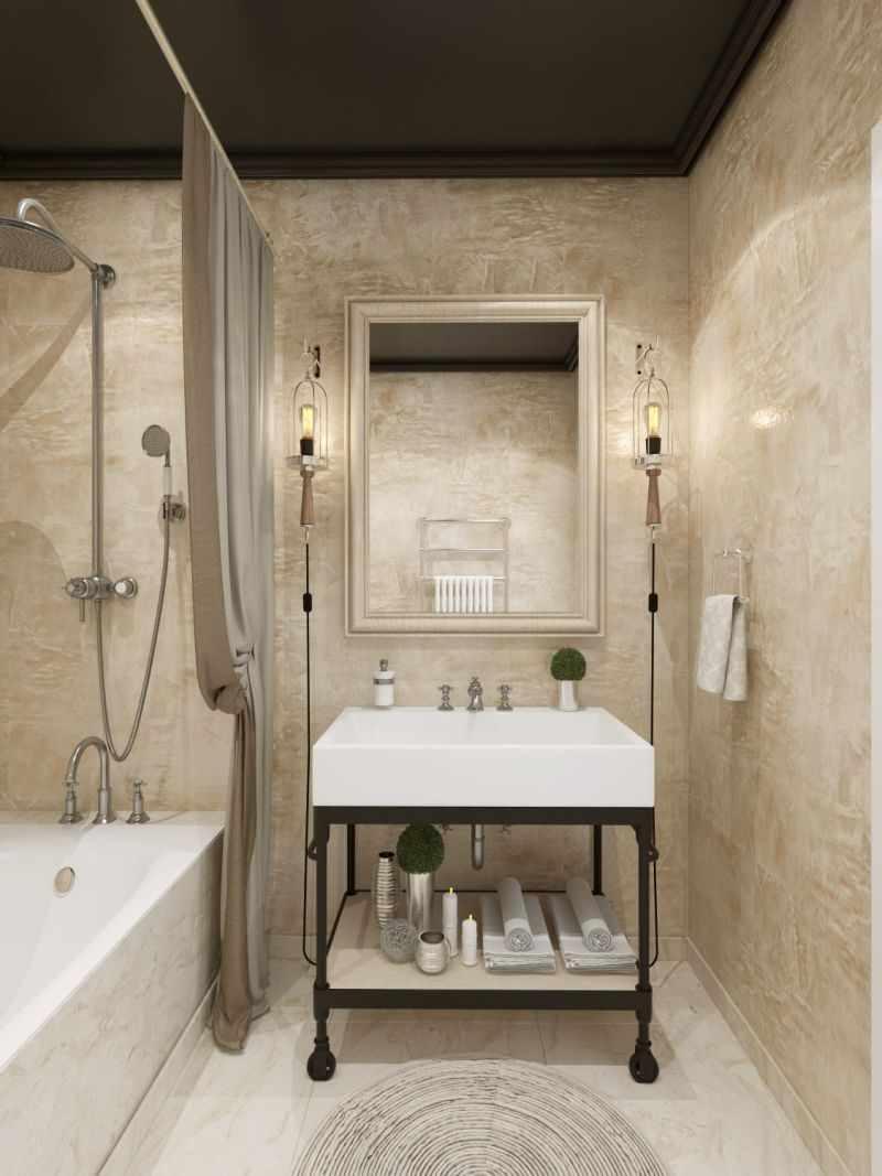 вариант использования красивой декоративной штукатурки в дизайне ванной