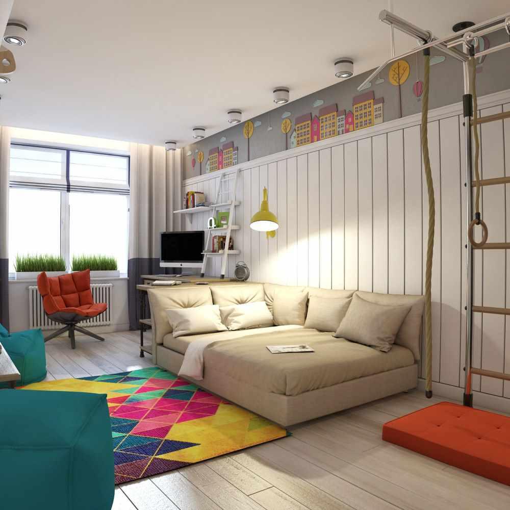 пример яркого дизайна детской комнаты