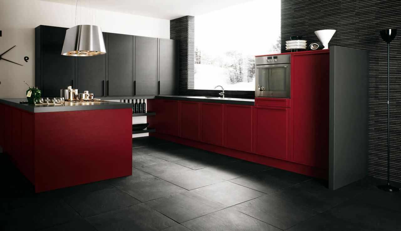 вариант необычного стиля красной кухни