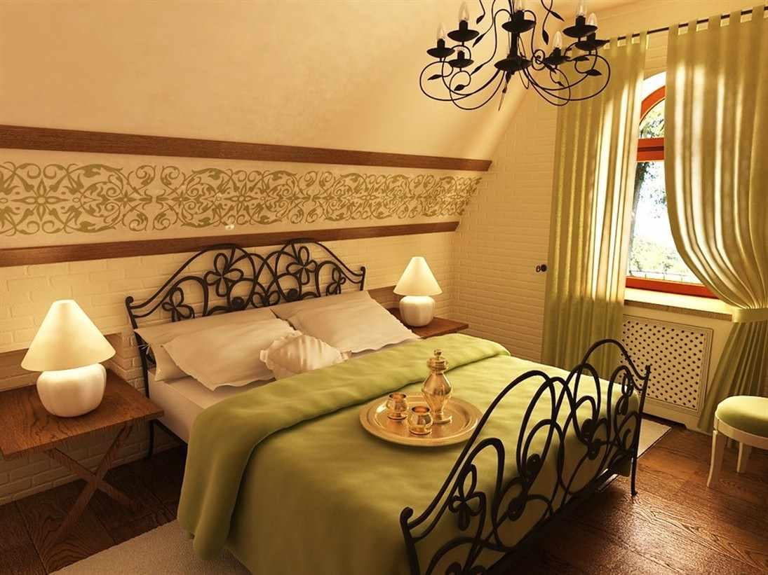 идея яркого стиля спальни в мансарде