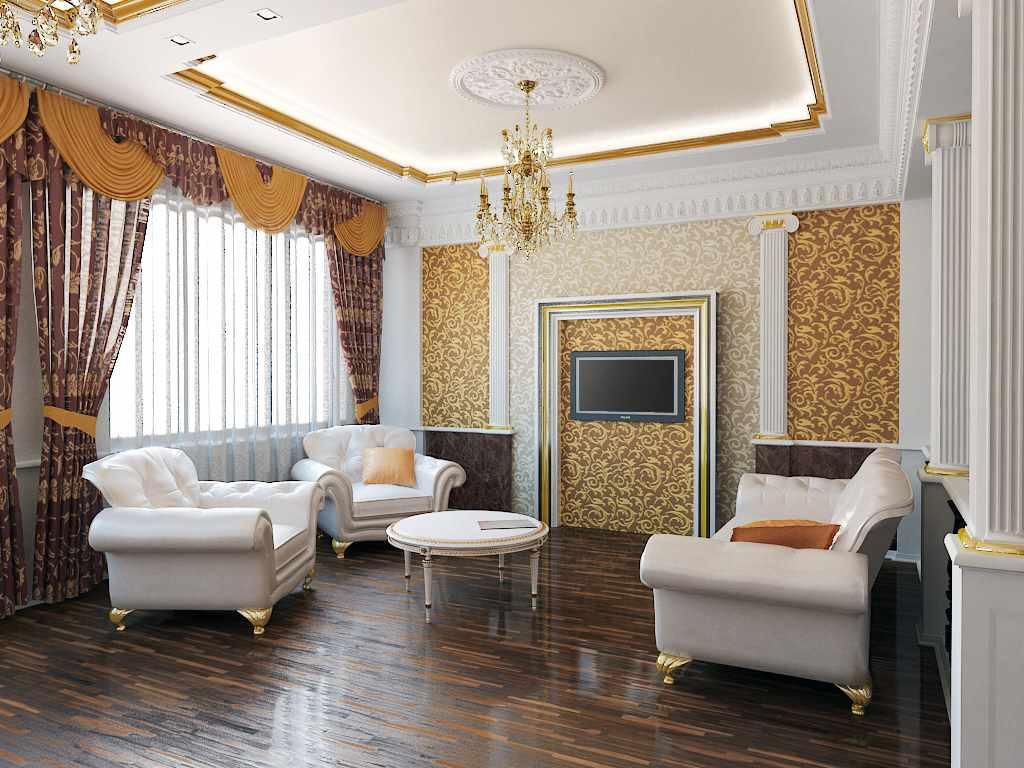 пример светлого декора обоев для гостиной