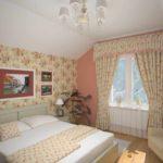 вариант красивого интерьера спальной комнаты в мансарде фото