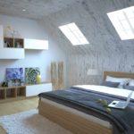 идея яркого дизайна спальни в мансарде картинка