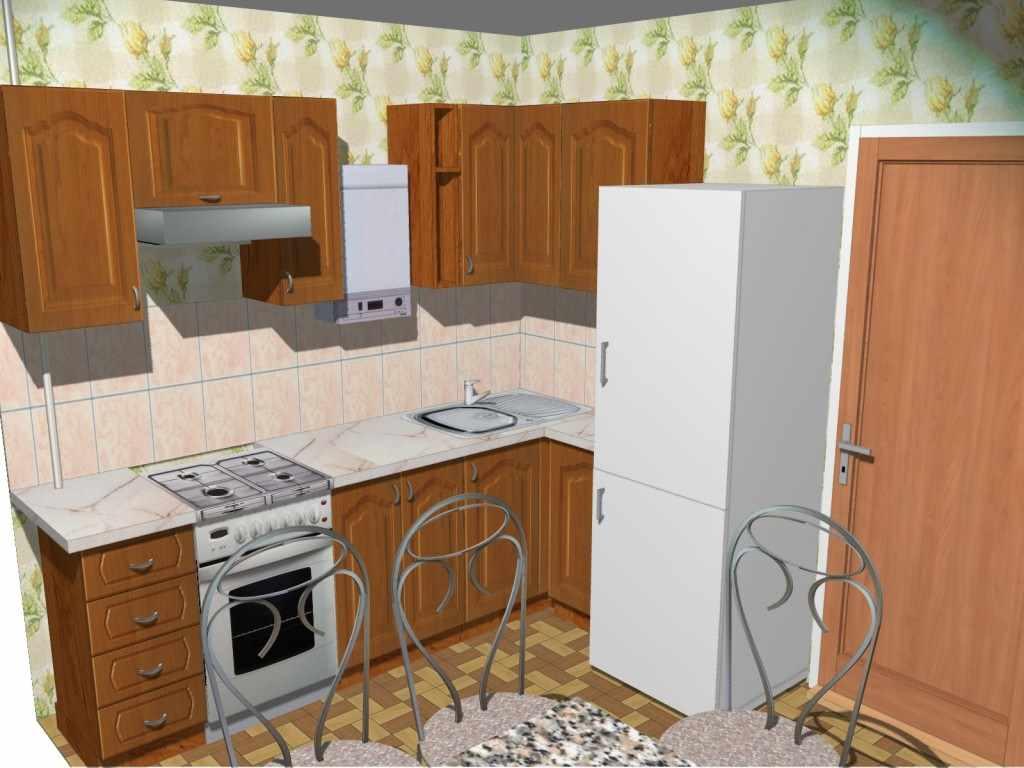 идея красивого дизайна кухни с газовым котлом