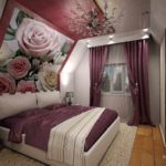вариант яркого стиля спальни в мансарде картинка