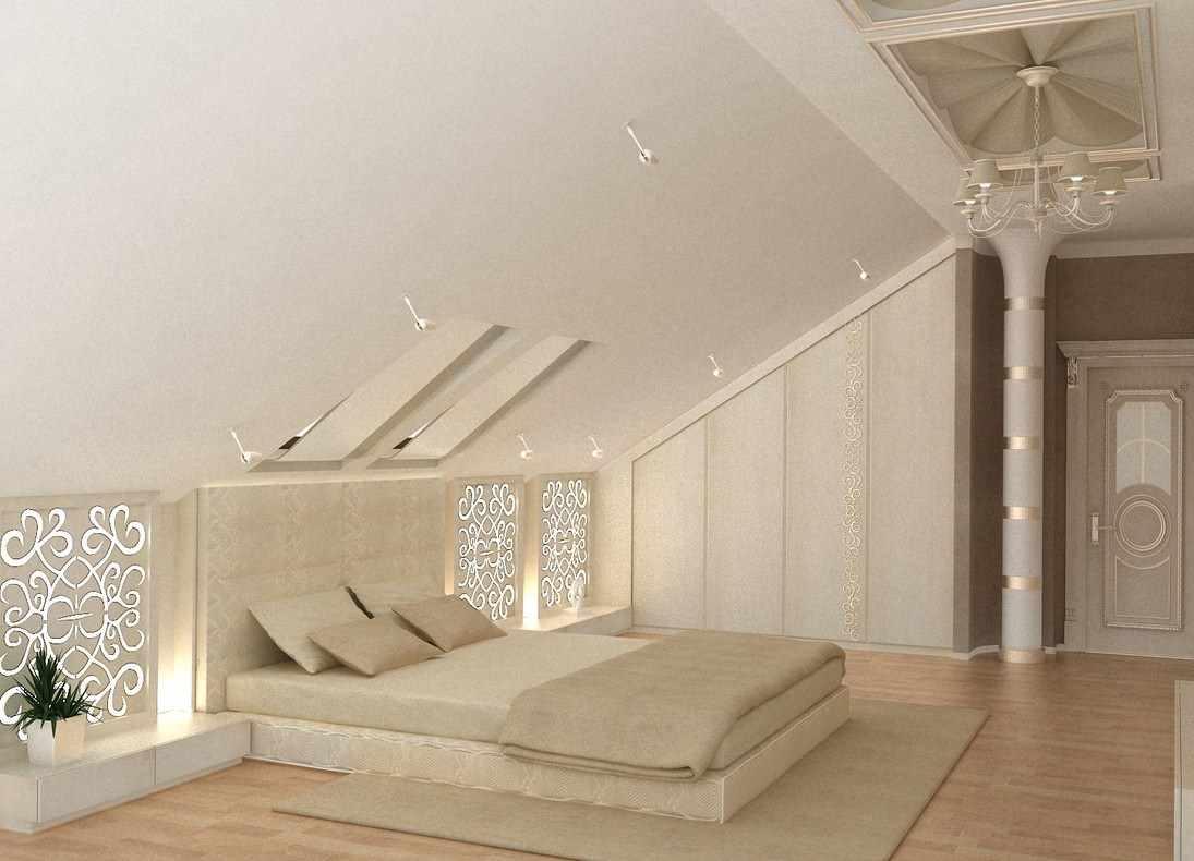 вариант необычного дизайна спальни в мансарде