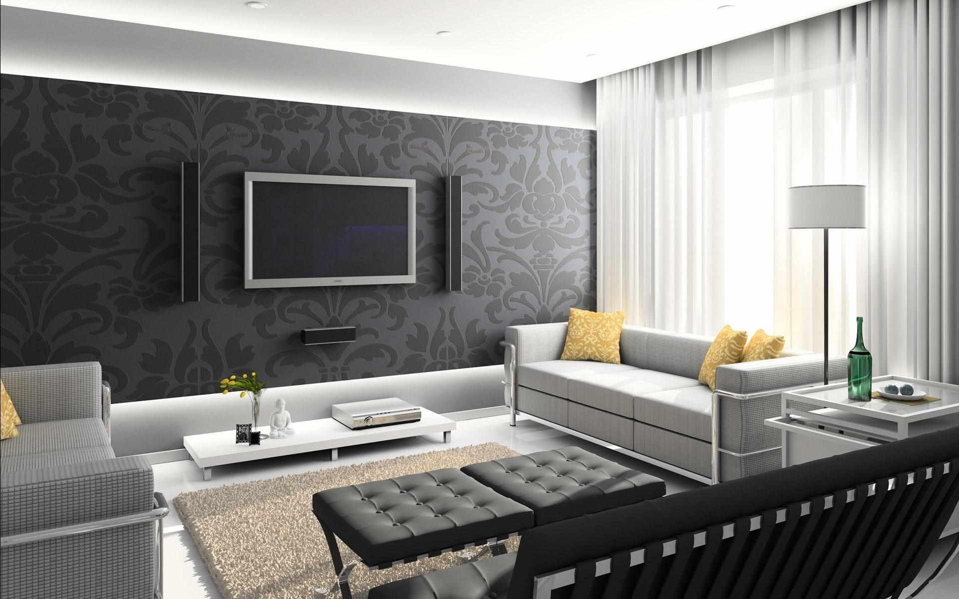 вариант красивого стиля обоев для гостиной