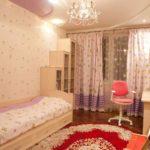 идея красивого интерьера спальной комнаты для девочки фото