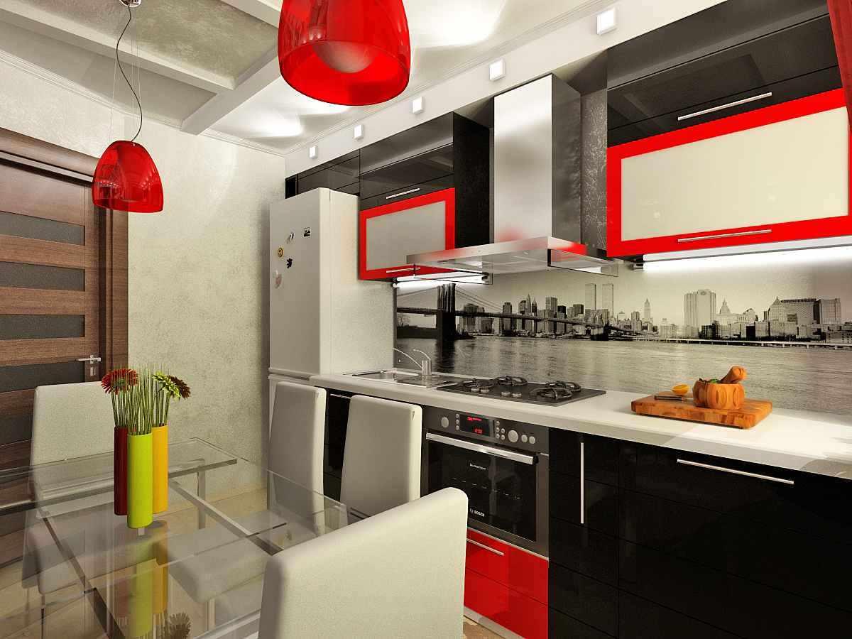 идея яркого дизайна красной кухни