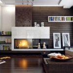пример применения красивого стиля гостиной комнаты с камином фото
