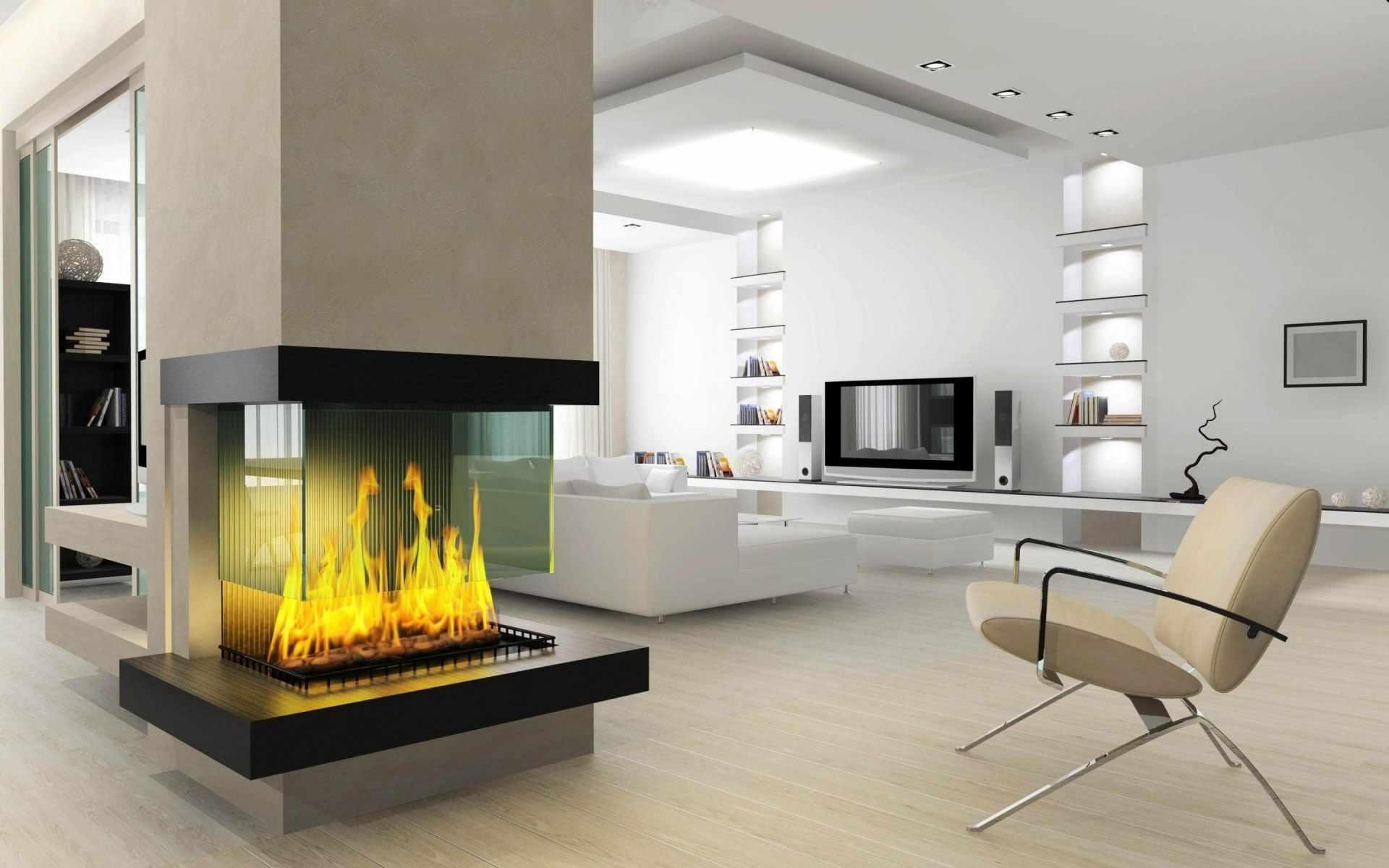 вариант применения необычного стиля гостиной комнаты с камином