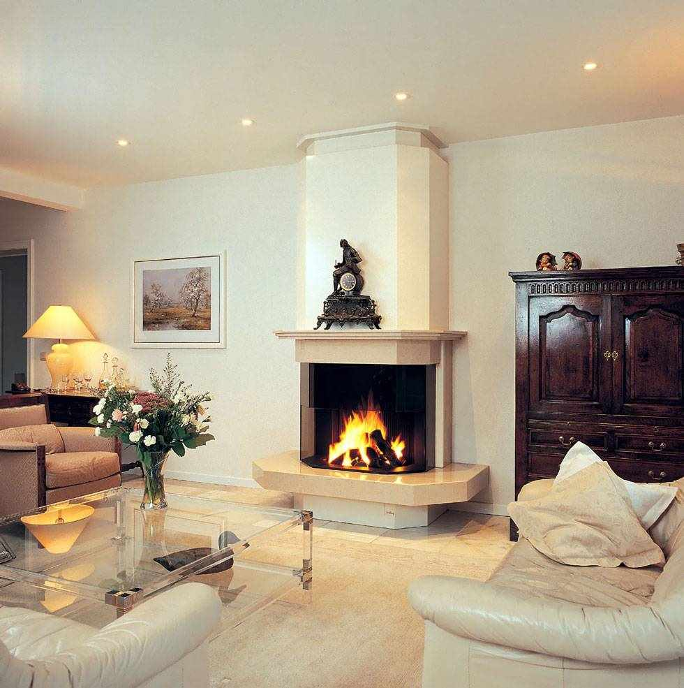 идея применения красивого декора гостиной комнаты с камином