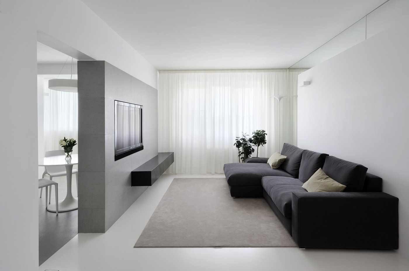 идея использования светлого декора гостиной комнаты в стиле минимализм