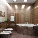 вариант яркого дизайна ванной комнаты с облицовкой плиткой фото