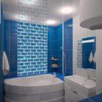 пример яркого декора ванной комнаты с угловой ванной фото