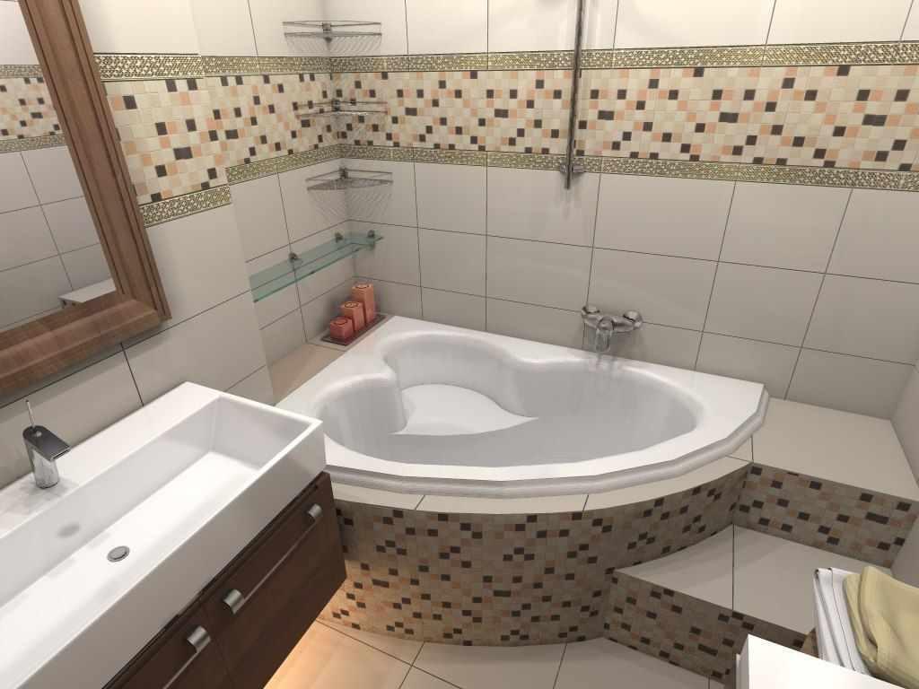 пример красивого дизайна ванной комнаты с угловой ванной