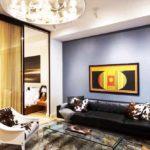 идея необычного интерьера гостиной комнаты 16 кв.м фото