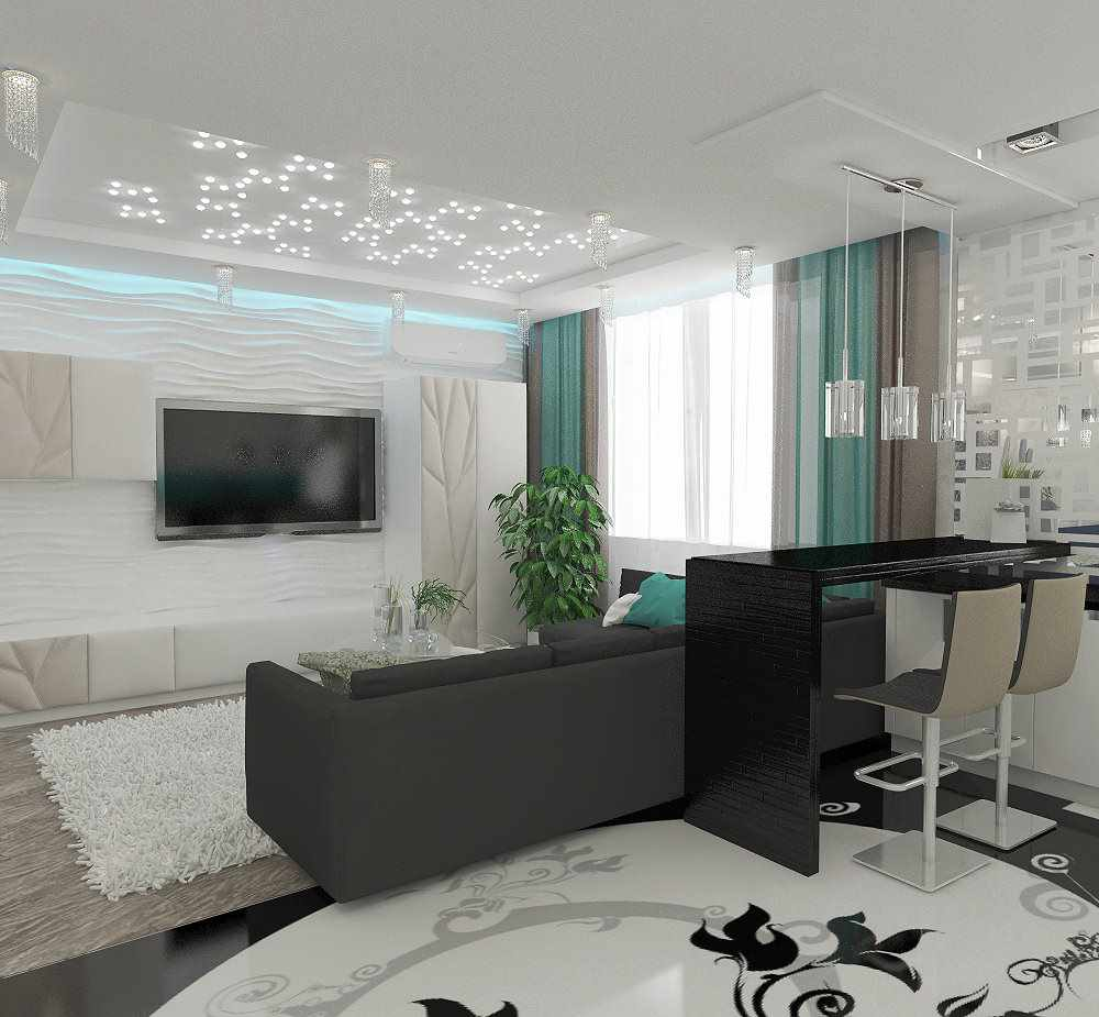 вариант необычного дизайна гостиной комнаты 2018