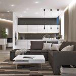 пример использования яркого декора гостиной комнаты в стиле минимализм картинка