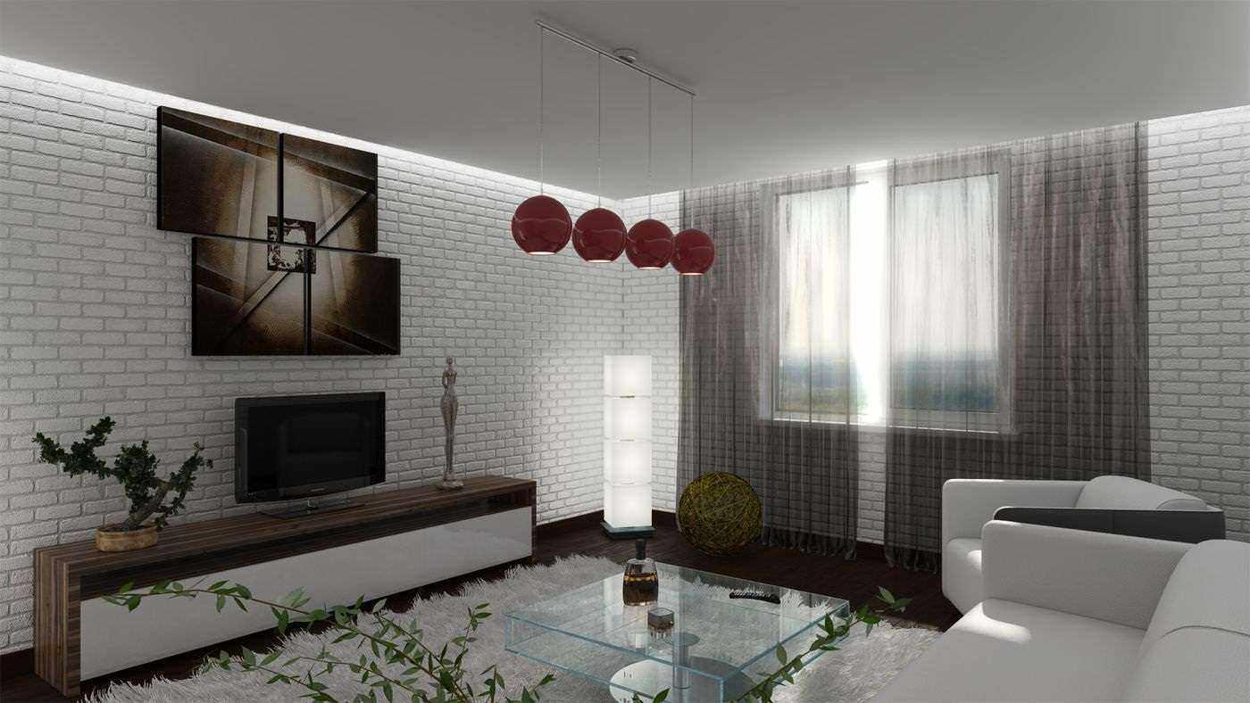 пример использования красивого интерьера гостиной комнаты в стиле минимализм