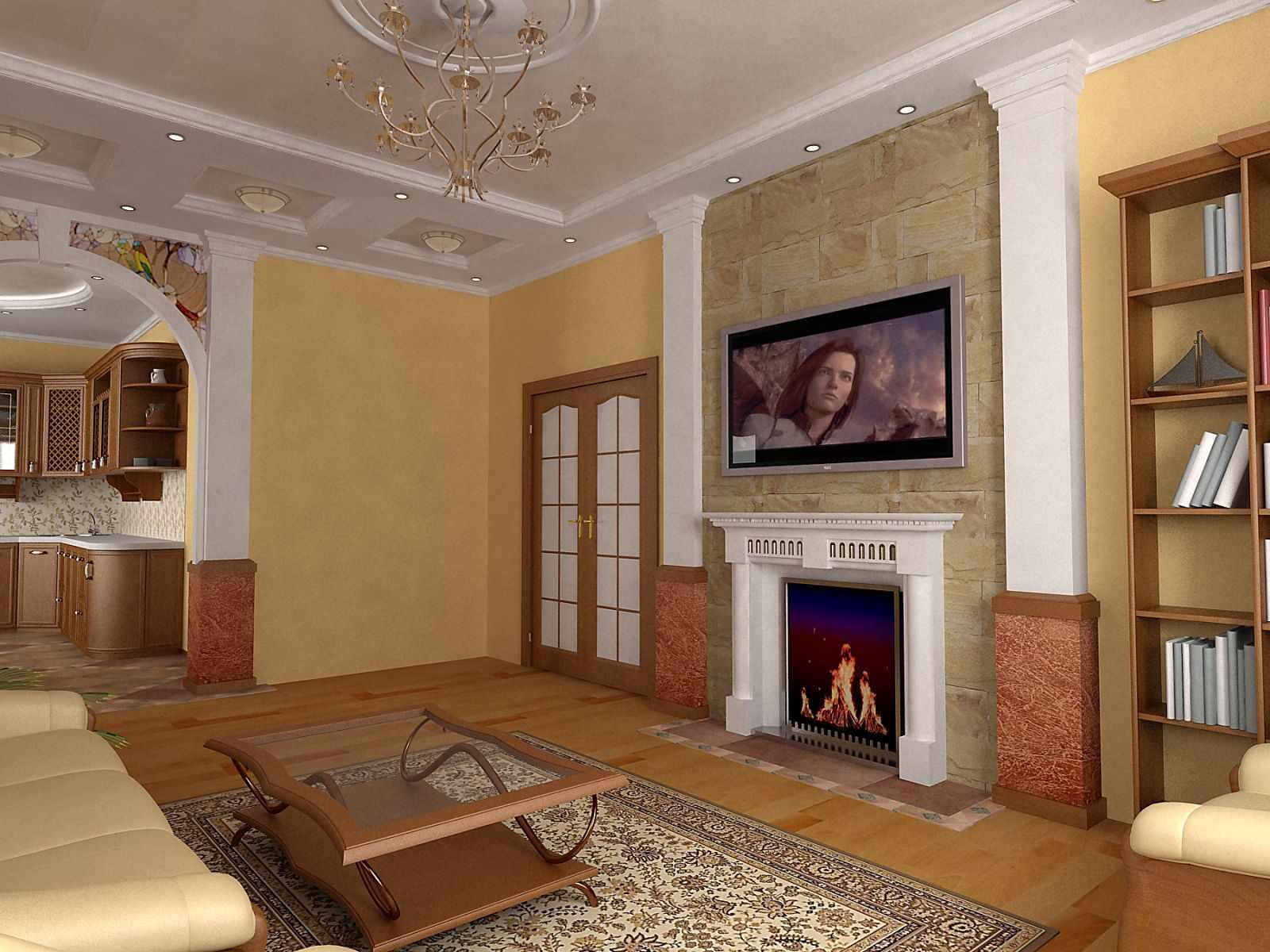 вариант использования яркого интерьера гостиной комнаты с камином