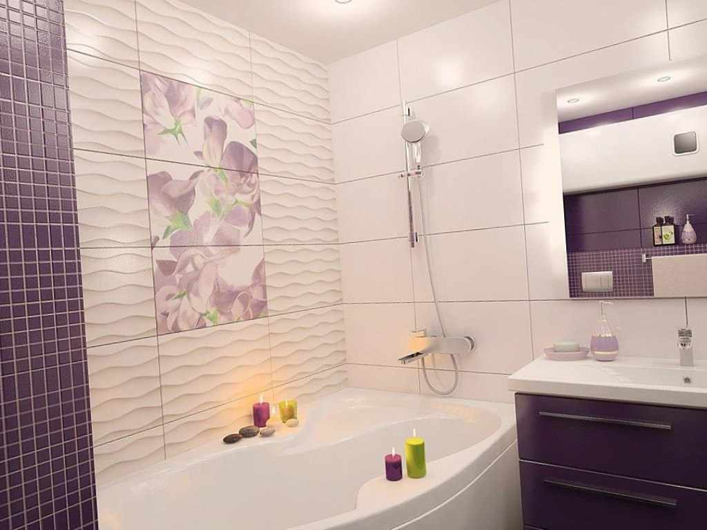 идея необычного декора ванной комнаты с угловой ванной