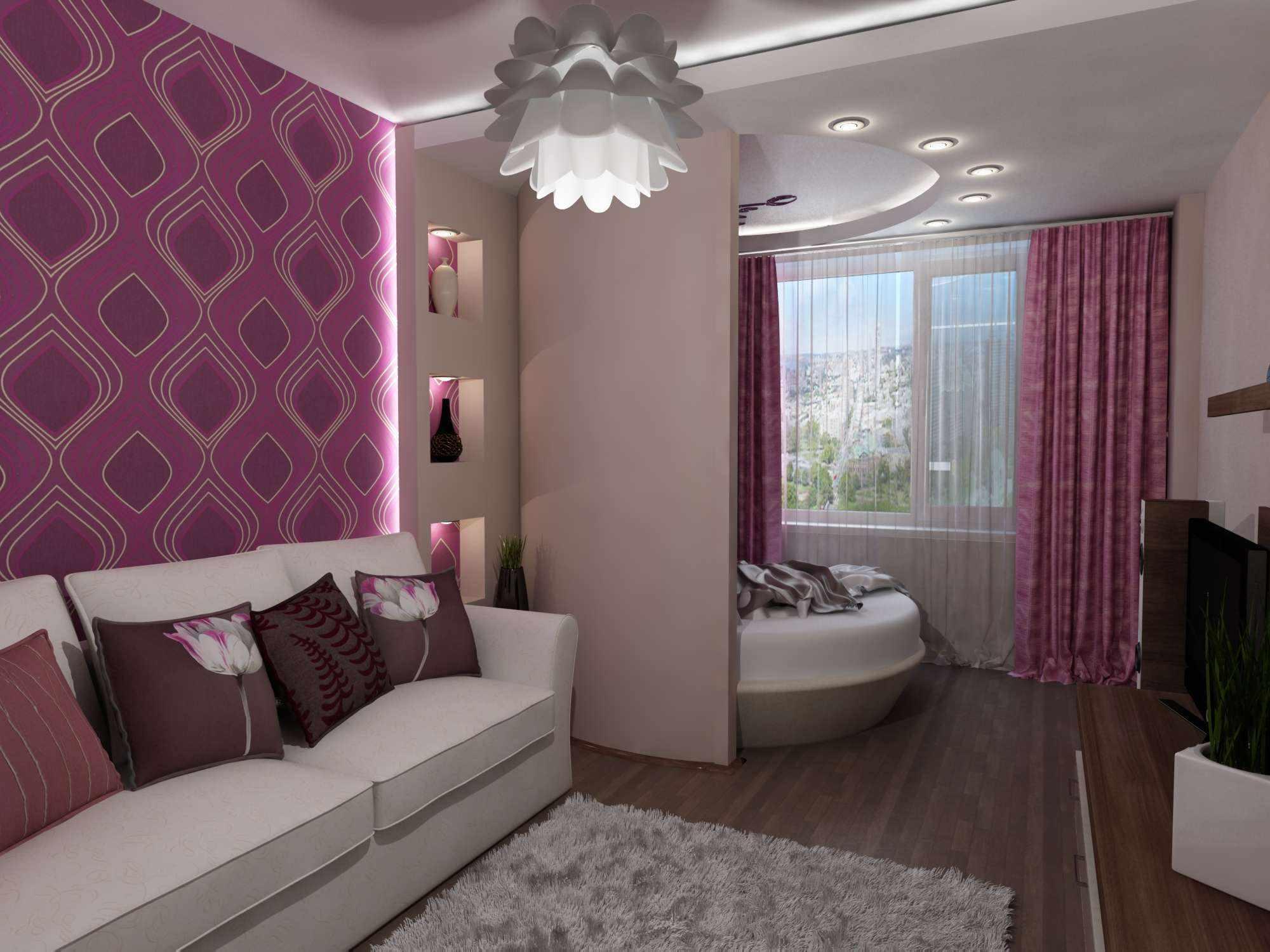 идея красивого дизайна гостиной комнаты 16 кв.м