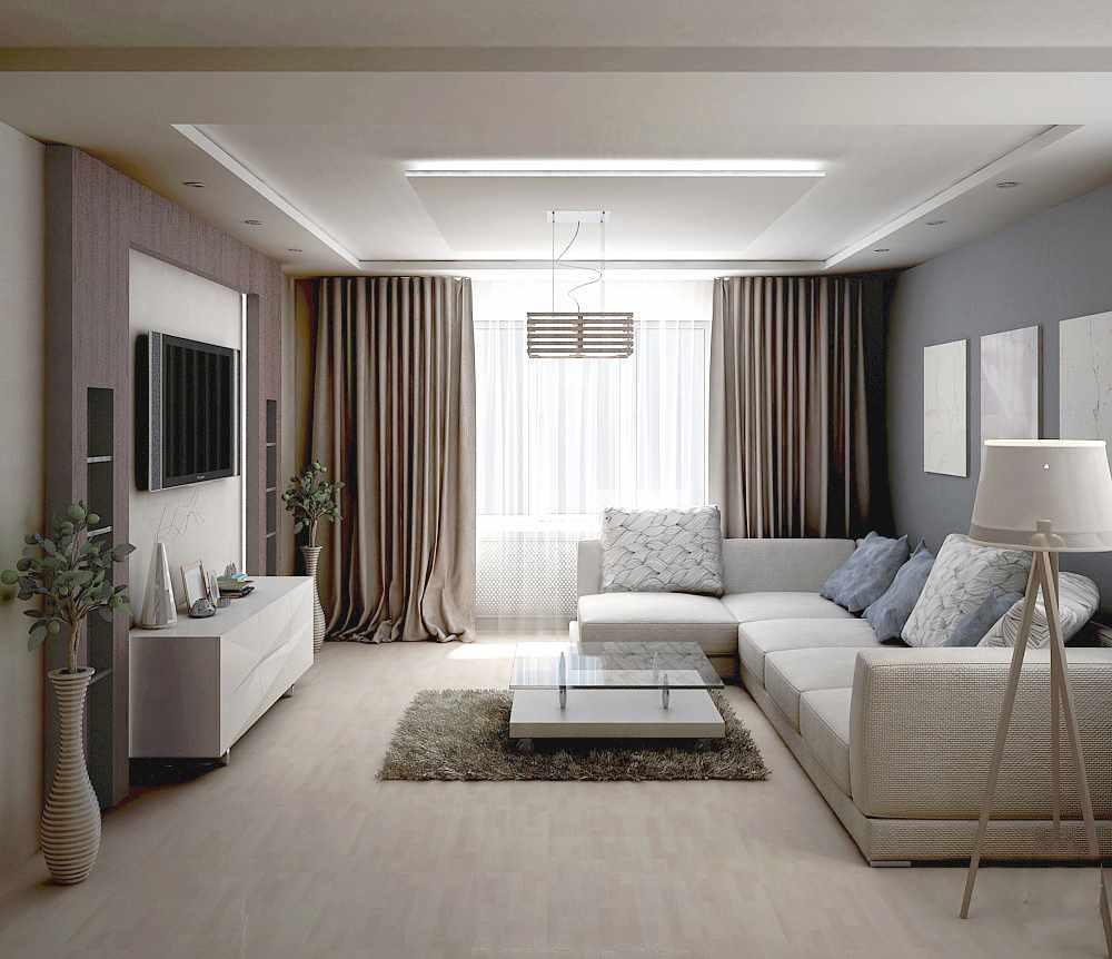 пример светлого дизайна гостиной комнаты 17 кв.м