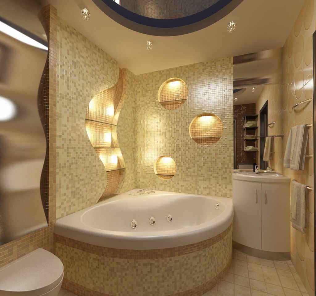 вариант светлого декора ванной комнаты с угловой ванной