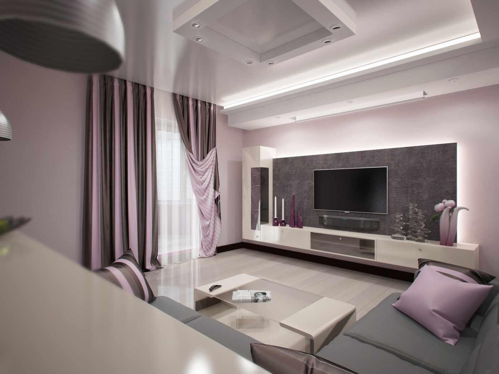 вариант необычного интерьера гостиной комнаты 19-20 кв.м