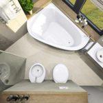 вариант яркого дизайна ванной комнаты с угловой ванной фото
