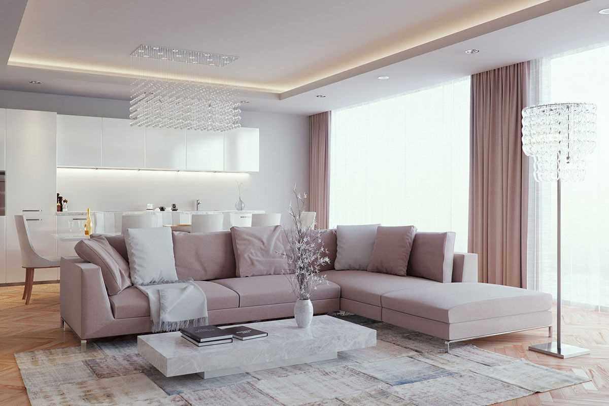 вариант яркого стиля гостиной комнаты 2018