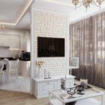 идея яркого дизайна гостиной комнаты 25 кв.м картинка