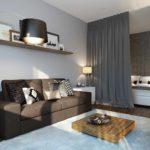 пример красивого дизайна гостиной комнаты 17 кв.м фото
