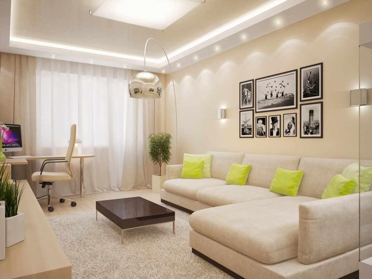 идея светлого стиля гостиной комнаты 19-20 кв.м