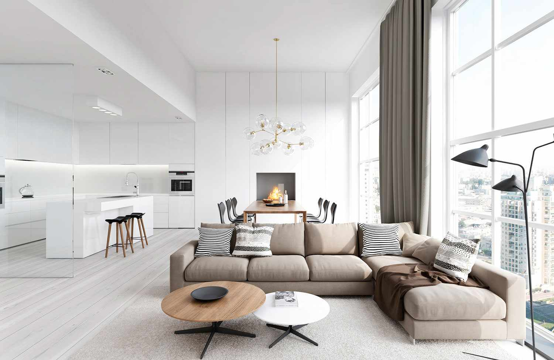 вариант применения красивого дизайна гостиной комнаты в стиле минимализм