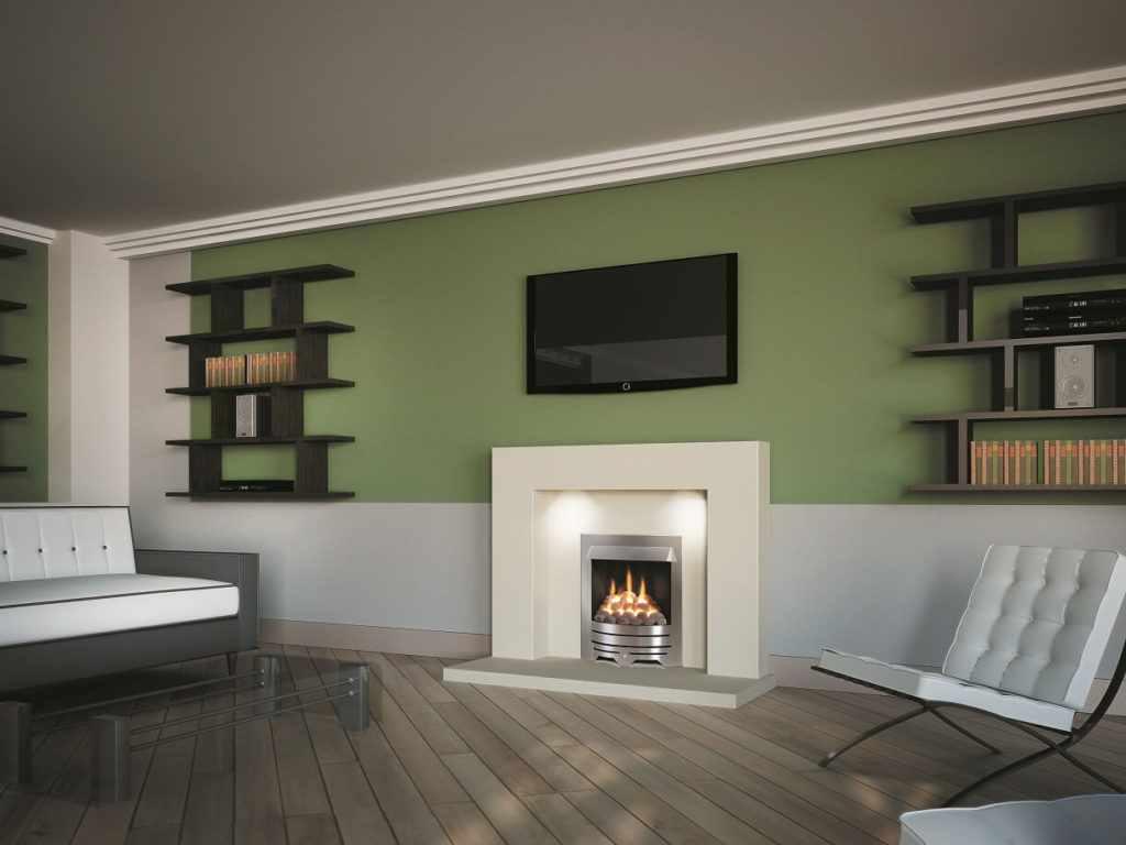 вариант использования яркого стиля гостиной комнаты с камином