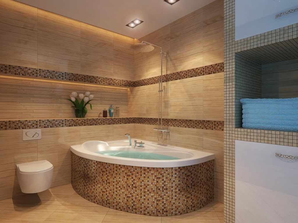 пример яркого дизайна ванной комнаты с угловой ванной
